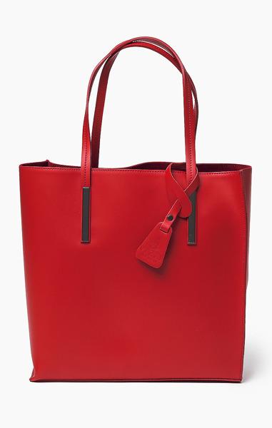 59098e822c8e8 Vera Pelle Włoska Torebka Skóra Shopper Red 643 Czerwony